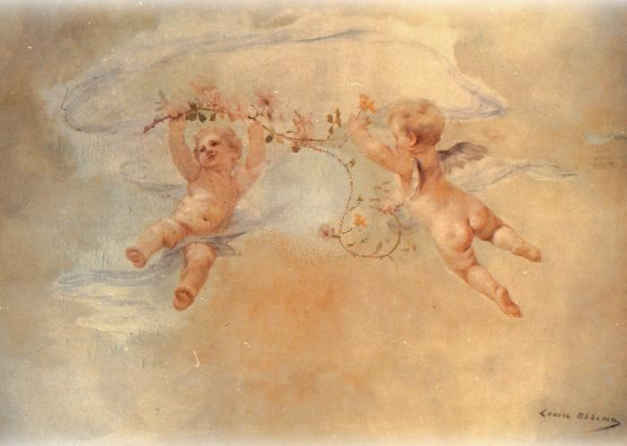 Louise abb ma angelots huile sur toile pour plafond - Peinture a l huile pour plafond ...