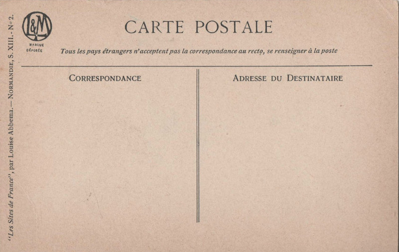 "Revers des cartes postales L&M de la série ""Sites de France"""