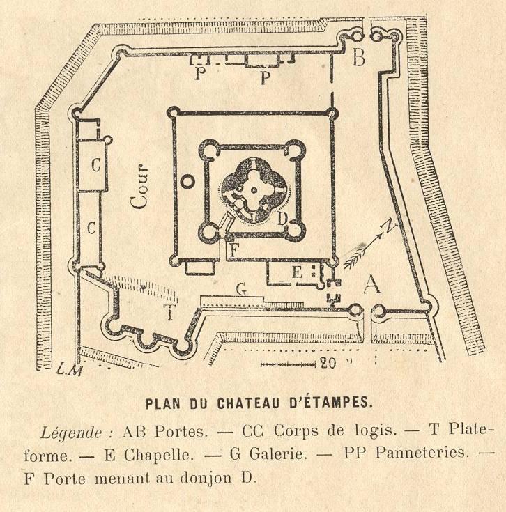 L on marquis plan du ch teau d 39 etampes croquis 1873 for Chateau etampes