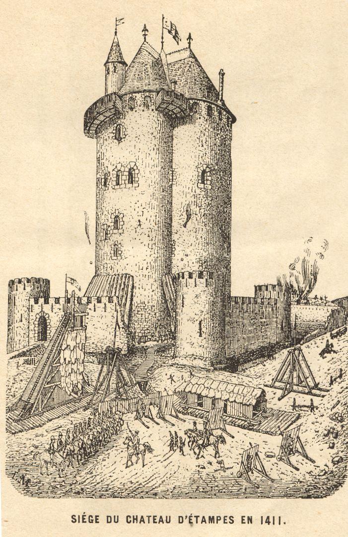 L on marquis si ge du ch teau d 39 etampes en 1411 croquis for Chateau etampes