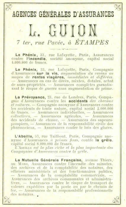 Lucien Guion Assureur à étampes Le Phénix 7 Ter Rue Pavée