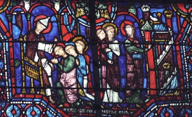 De hellige Sabinian og Potentian blir utsendt av apostelen Peter (t.v.) og kommer til Sens (t.h.), glassmaleri fra 1200-tallet i katedralen i Chartres
