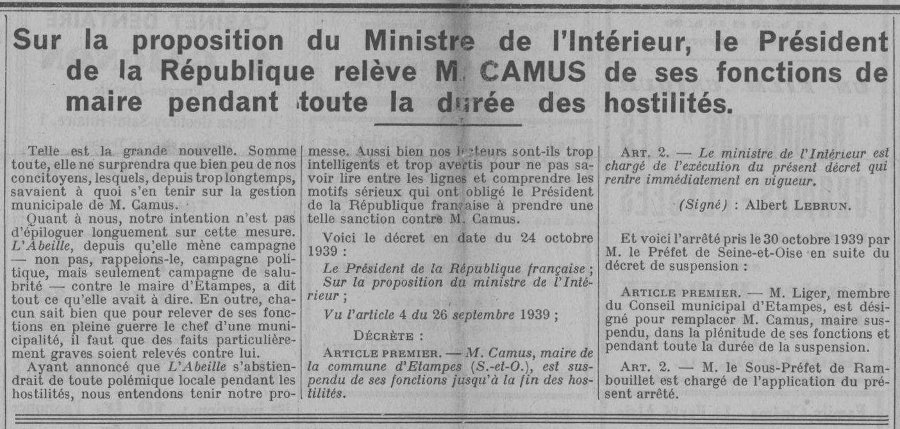 Suspension du maire Lucien Camus