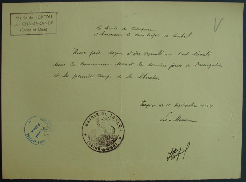Compte-rendu de l'histoire de Boissy-le-Sec de 1939 à 1944