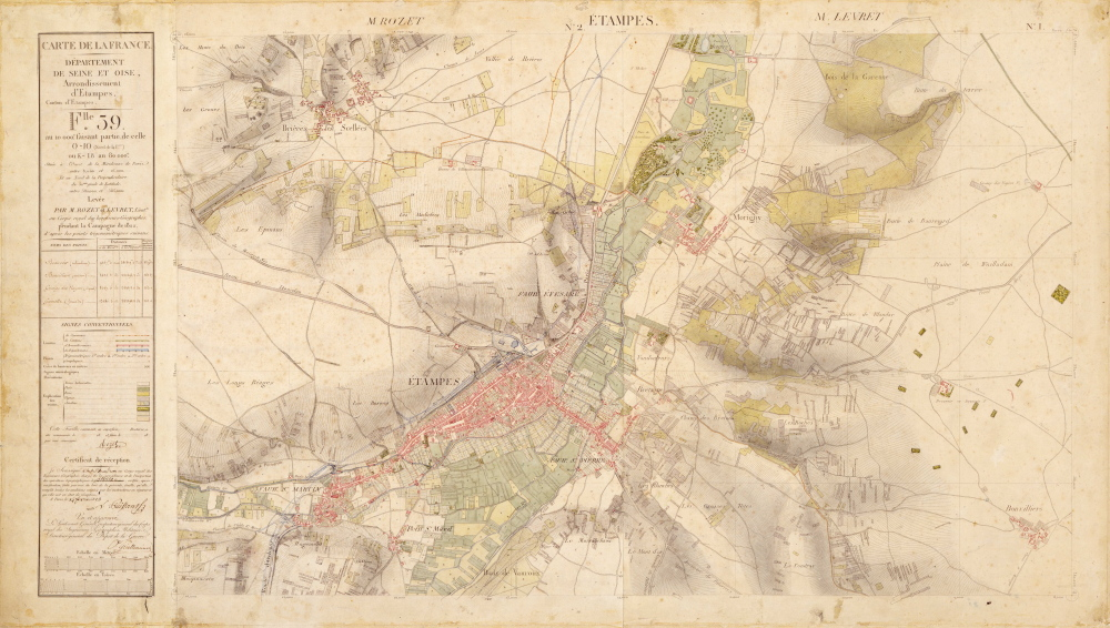 Etampes, carte d'Etat-Major de 1847
